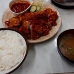 ハイライト食堂 - 唐揚げ定食(サルサソース)