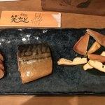 笑かど - 燻製3種盛り 599円。サバが最高ー(╹◡╹)
