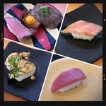 かっぱ寿司 - 炙り牡蠣・牛肉3種盛り・大トロ・中とろ
