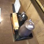 神田きくかわ - タレも用意されてます。山椒は入れ物の使い方が判らず大量にかけてしまった・・・