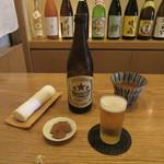 Sobayatsukigokoro - 瓶ビール・お通し