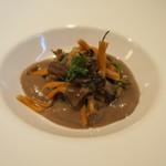 シャントレル - 茸冷製ムース、ボタンエビ、天然シャントレル茸