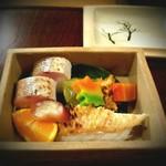 95375227 - 鱚のお鮨に、生麩田楽・グジの鱗焼き。ミカンと、茗荷の酢漬