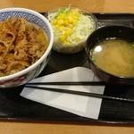 95380734 - 牛丼並盛(汁抜き)+サラダセット 510円