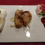 ムッシュ - アンティパスト 左からモッツァレラチーズのカプレーゼ、白身魚と数の子のテリーヌ、いとより鯛のフリット、イベリコ豚の生ハム、フォアグラのクリームブリュレ風