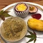 柚木元 - パッションフルーツ、栗粉のわらび餅、幻のポポ