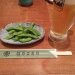 95421639 - 「早割りセットサービス」の枝豆&中生
