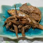 うを徳 - 2018.10 仙鳳趾牡蠣時雨煮、琵琶湖ホンモロコ有馬煮、琵琶湖ゴリ有馬煮