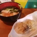 もみじ - 豆腐と九条ねぎのくず煮、牡蠣の天ぷら