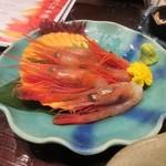 越後一会 十郎 - 〆の一品は南蛮エビ880円。  大きな甘エビですね。