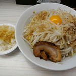 麺屋ガテン - MAZEそば760円と魚粉追い飯80円