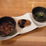 和ばぁる 魁 - 選べる3品(本日の煮物、カボチャコロッケ、ほうれん草のおひたし)