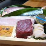 斗米庵 - お造りはネタ箱から3種類好みのものを選びます