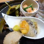 斗米庵 - 鰆南蛮漬け・茄子・柿・アボカドソース・すだち煮凍り・水菜と海老の和えもの・海老芋・銀杏・大徳寺麩