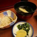 富松うなぎ屋 - 定食には 酢の物・漬物・吸い物
