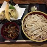 金峰 - 手打ちおざら大盛り+天ぷら盛合せ