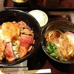 まこと家 - おろしステーキ丼(ミニうどん付)