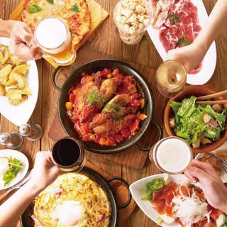 パーティーコースは料理7品+2時間飲み放題で2960円から!