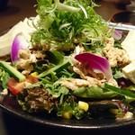 名古屋コーチン専門居酒屋 鳥銀邸 はなれ - サラダも山盛りなのだ!