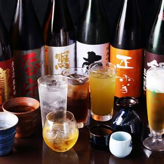 こだわりの日本酒は30種以上。芋・蕎麦・麦などの焼酎も◎