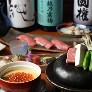 充実した会席コースをご用意。県内産のお肉や旬のお野菜を。