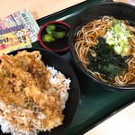 名代 箱根そば - ミニ海老&かき揚げ丼セット(570円)