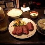 牛たん炭焼き 利久 - 牛タン「極」定食 & 生ビール