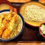 95560955 - かき上天丼の蕎麦セット