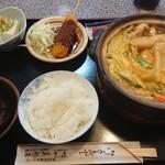 95593077 - カレー煮込みうどん、味噌串カツ選択(税込1,030円)