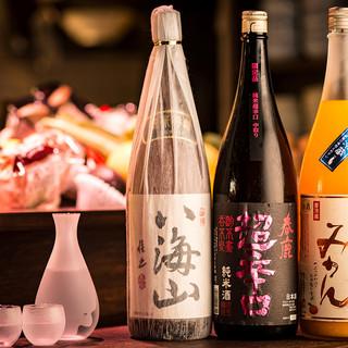 全国各地の希少なプレミアム日本酒。炉端に合う贅沢な一杯