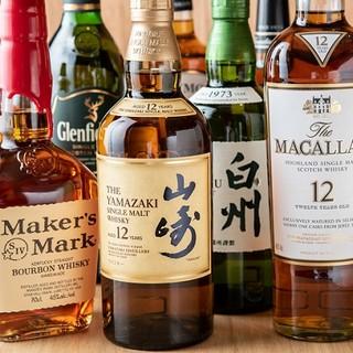 《山崎12年などレアなウィスキーを豊富に取り揃えております》