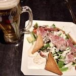 銀座モダンテラス - 生ハムのシーザーサラダ&生ビール