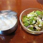 吾照里 - 牛スジ鍋定食¥980の「ライス&サラダ」