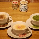 ギャニオン カフェ - ドリンク写真:期間限定 メープルほうじ茶ミルク、メープル黒豆ミルク、メープル抹茶ミルク