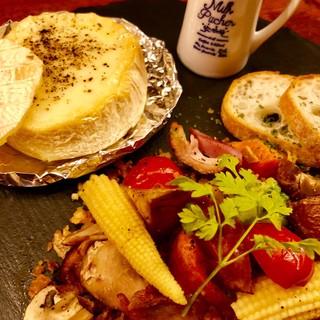 燻製のカマンベールのチーズフォンデュ♪