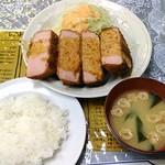 レストランばーく - ハムカツ定食(4切れ) 800円