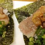 夏風 - 料理写真:和牛肉とウニの手巻き寿司