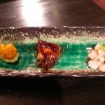 957153 - 前菜(うに・だだみ(たらの白子)・煮ダコ)