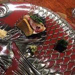 """龍吟 - ◆海の幸""""二皿の""""龍吟仕立て 一皿目は明石の鯛・あん肝が美味しい。"""
