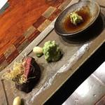 龍吟 - ♦蝦夷鹿 藁焼き 山葵と塩で。枝豆をすったものが添えられていました。