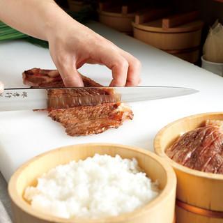 厳選した食材でつくる、商標登録「名物黒毛和牛ひつまぶし」