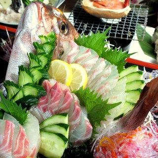 魚も肉も◎活真鯛の舟盛り+和牛中落ちカルビを楽しめるコース!