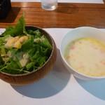 ジャンジャン - セットのサラダ&スープ