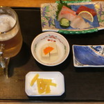 松ノ木 - 刺身と生ビール