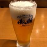 カレーうどん 千吉 - 生ビール 400円。