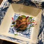 祇園びとら、 - 京都産牛頰肉赤ワイン煮のフリット 春菊のピュレ