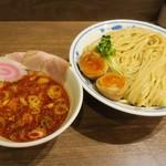 サバ6製麺所 - サバ濃厚鶏辛つけ麺特盛サバ寿司セット(つけ麺はデフォで味玉付き)サバ寿司は店員さん忘れで催促  遅れたのでカット