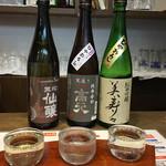 信州おさけ村 - 日本酒3品セット。右から徐々に、力強くなるお酒
