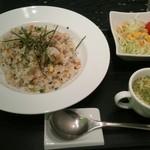 IORI - 梅とシラスの和風ピラフ、スープ、サラダ