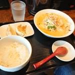 富士タンメン - 鶏白湯タンメンセット(餃子3個+半ライス)